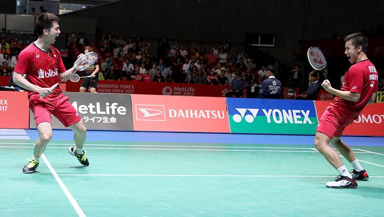 Marcus Fernaldi Gideon dan Kevin Sanjaya Sukamuljo lolos ke final ajang Japan Open Super Series 2017. Copyright: HUMAS PBSI