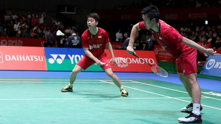 Marcus Fernaldi Gideon dan Kevin Sanjaya Sukamuljo lolos ke final ajang Japan Open Super Series 2017. - INDOSPORT