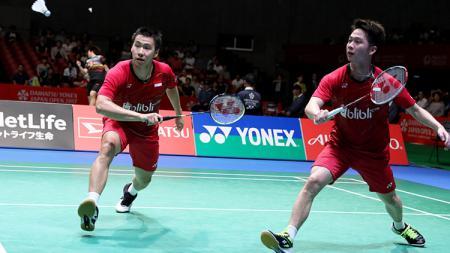 Marcus Fernaldi Gideon dan Kevin Sanjaya Sukamuljo lolos ke final Japan Open Super Series 2017. - INDOSPORT