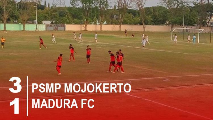 Hasil pertandingan PSMP Mojokerto vs Madura FC. Copyright: Grafis: Eli Suhaeli/INDOSPORT