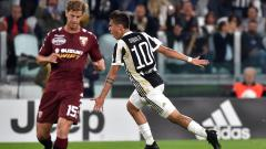 Indosport - Selebrasi Dybala usai mencetak gol ke gawang Torino.