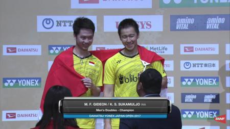 Kevin/Marcus menjuarai Japan Super Series 2017. - INDOSPORT