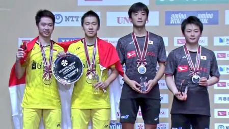 Kevin Sajaya/Marcus Gideon juara dengan mengalahkan Takuto Inoue/Yuki Kaneko di final. - INDOSPORT