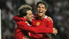 Indosport - Ruud van Nistelrooy dan Cristiano Ronaldo saat membela Manchester United.