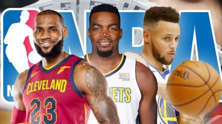 Kiri-kanan: LeBron James, Paul Millsap, dan Stephen Curry. - INDOSPORT