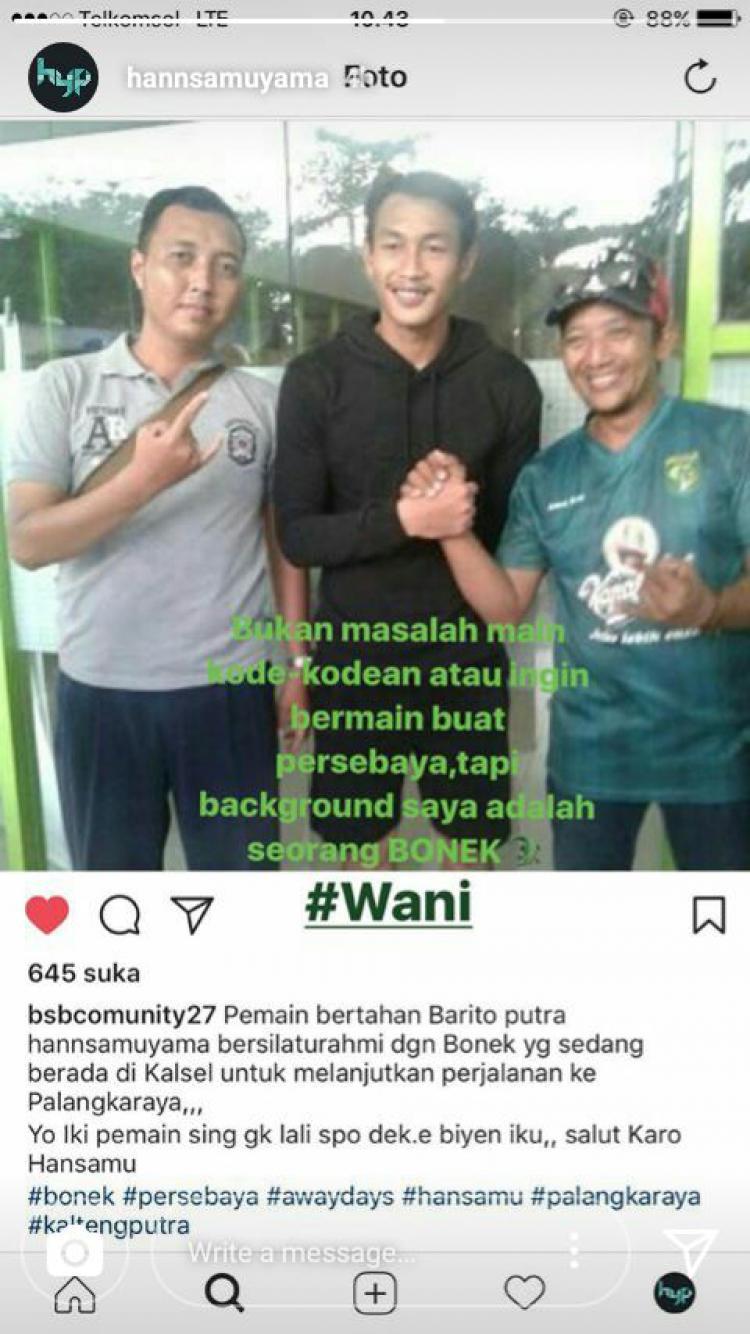 Hansamu Yama Mendaku Diri Sebagai Bonek Copyright: Instagram