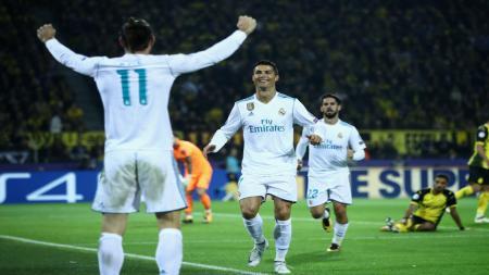 Cristiano Ronaldo akan melakukan selebrasi gol keduanya dengan Gareth Bale. - INDOSPORT