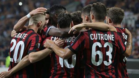 Selebrasi pemain AC Milan. - INDOSPORT