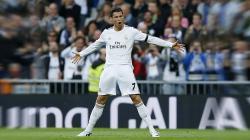 Megabintang Real Madrid, Cristiano Ronaldo saat melakukan selebrasi.