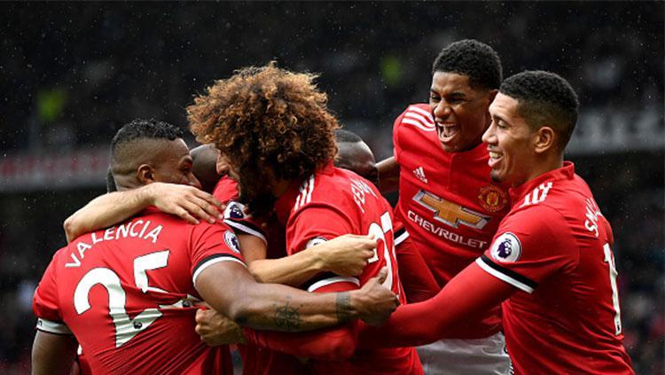 Para pemain Manchester United lakukan selebrasi. Copyright: INDOSPORT