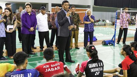 Ketua Umum PBSI, Wiranto saat memberikan pidato menyambut Wakil Presiden, Jusuf Kalla. - INDOSPORT