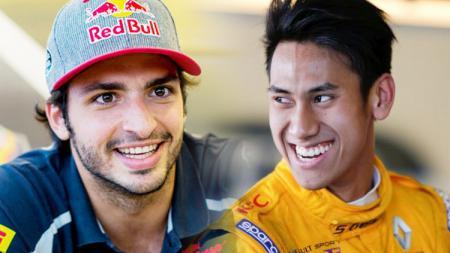 Carlos Sainz (kiri) dan Sean Gelael. - INDOSPORT