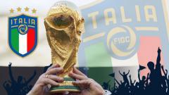 Indosport - Logo Timnas Italia dan Piala Dunia.