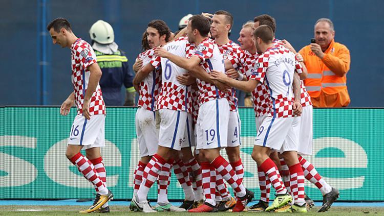 Selebrasi pemain Kroasia usai membobol gawang Kosovo. Copyright: INDOSPORT