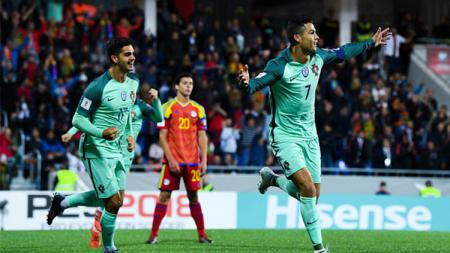 Selebrasi Cristiano Ronaldo usai mencetak gol. - INDOSPORT