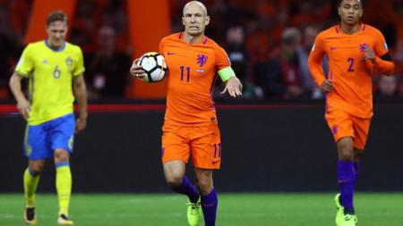 Arjen Robben usai membobol gawang Swedia. - INDOSPORT