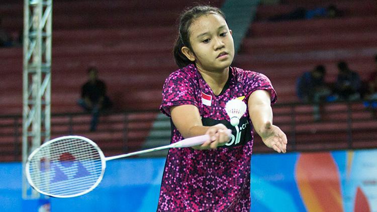 Pebulutangkis tunggal Putri Indonesia, Aurum Oktavia Winata, di ajang Yonex Sunrise BWF World Junior Championships 2017. Copyright: Humas Pelatnas PBSI