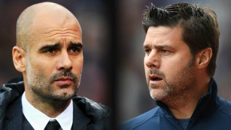 Pep Guardiola dan Harry Kane. - INDOSPORT