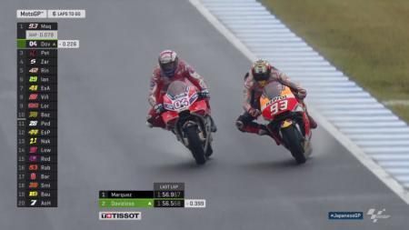 Marquez dan Dovizioso saat memperbutkan posisi pertama di MotoGP Jepang - INDOSPORT