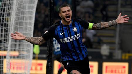 Selebrasi Mauro Icardi usai bobol gawang AC Milan - INDOSPORT