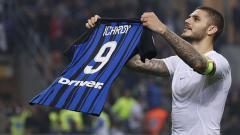 Indosport - Selebrasi Mauro Icardi di laga Derby della Madonnina.