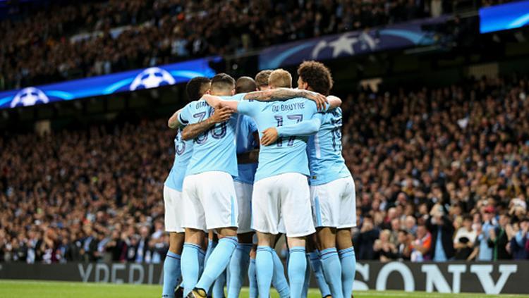 Para pemain Manchester City berselebrasi. Copyright: INDOSPORT