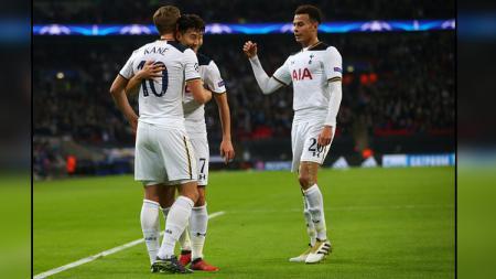 Tiga pemain bintang Tottenham Hotspur, Son Heung-min, Harry Kane, dan Dele Alli. - INDOSPORT
