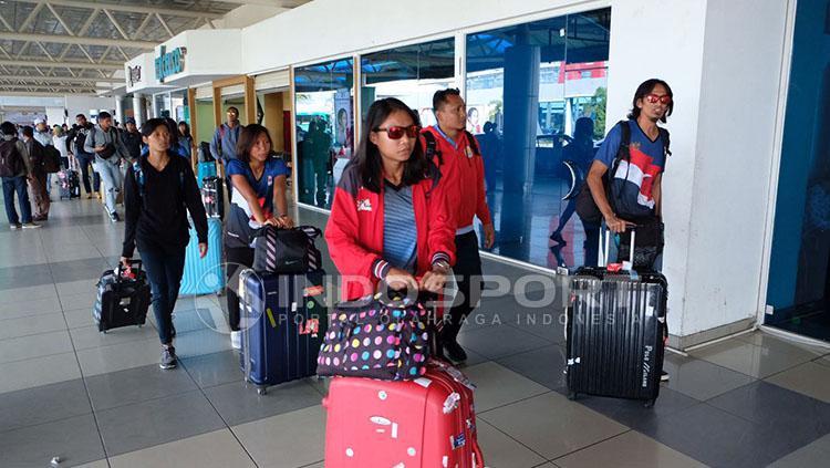 Jelang perhelatan Test Event Beach Volleyball, empat negara melakukan percobaan lapangan voli pantai Jakabaring Sport City (JSC) Palembang. Copyright: Muhammad Effendi/INDOSPORT