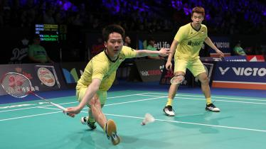 Kevin Sanjaya Sukamuljo dan Marcus Fernaldi Gideon, pasangan ganda putra andalan Indonesia. - INDOSPORT