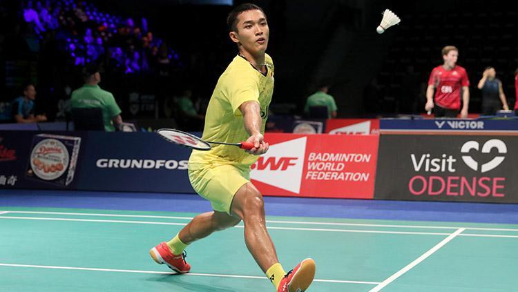 Tunggal Putra Indonesia, Jonatan Christie di ajang Denmark Open Super Series Premier 2017. Copyright: HUMAS PBSI