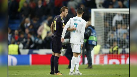 Striker Tottenham Hotspur dan pemain megabintang Real Madrid, Harry Kane (kiri) dan Cristiano Ronaldo. - INDOSPORT