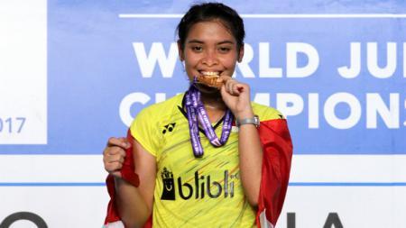Gregoria Mariska Tunjung meraih medali emas World Junior Championships 2017. - INDOSPORT