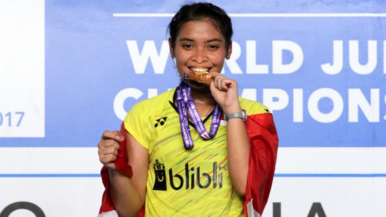 Gregoria Mariska Tunjung meraih medali emas World Junior Championships 2017. Copyright: Humas PBSI