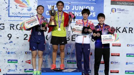 Podium tunggal putri World Junior Championships 2017. - INDOSPORT