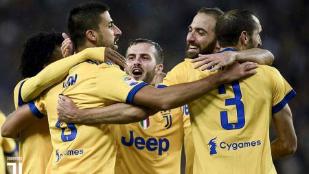 Selebrasi skuat Juventus usai menang atas Udinese. - INDOSPORT