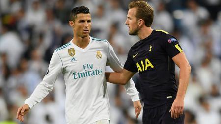 Cristiano Ronaldo dan Harry Kane di ajang Liga Champions.