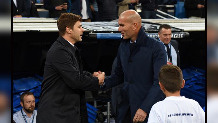 Mauricio Pochettino, pelatih Tottenham Hotspur (kiri) dan Zinedine Zidane, pelatih Real Madrid. Copyright: INDOSPORT
