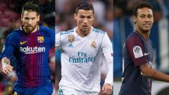 Indosport - Kiri-kanan: Lionel Messi, Cristiano Ronaldo, dan Neymar.