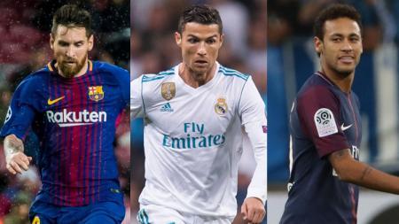 Kiri-kanan: Lionel Messi, Cristiano Ronaldo, dan Neymar. - INDOSPORT