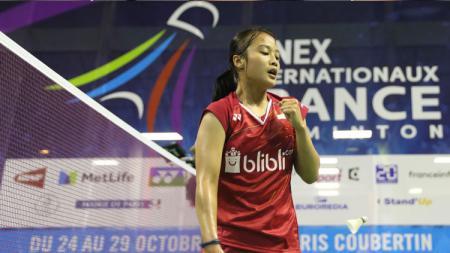 Selebrasi Hanna Ramadini, pebulutangkis tunggal putri Indonesia. - INDOSPORT