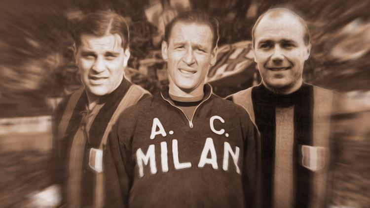Kiri-kanan: Gunnar Nordahl, Nils Liedholm, dan Gunnar Gren. Copyright: Grafis: Eli Suhaeli/INDOSPORT