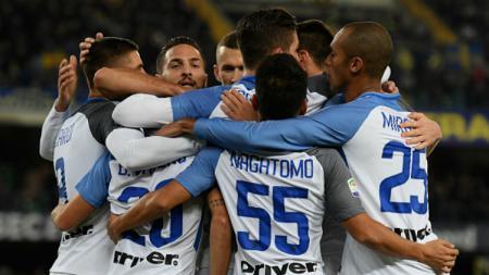 Selebrasi para penggawa Inter Milan. - INDOSPORT