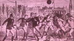 Indosport - Ilustrasi pertandingan sepakbola tempo dulu.
