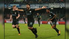 Indosport - Selebrasi striker Man City, Sergio Aguero.