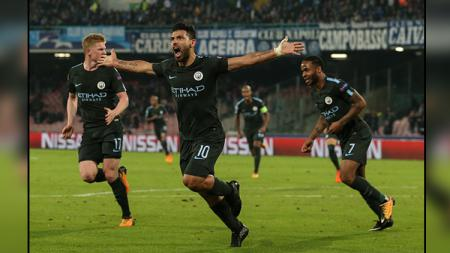 Selebrasi striker Man City, Sergio Aguero. - INDOSPORT