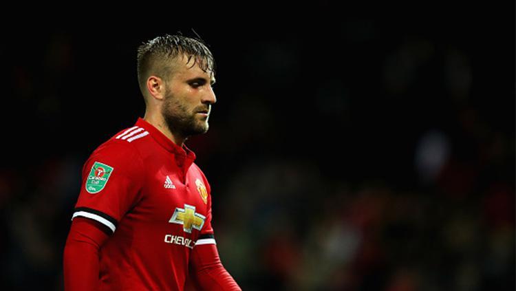 Pemain Manchester United, Luke Shaw. Copyright: INDOSPORT