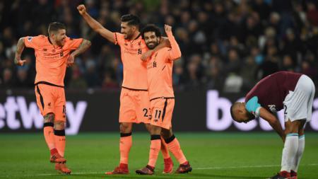 Skuat Liverpool merayakan kemenangan atas West Ham. - INDOSPORT
