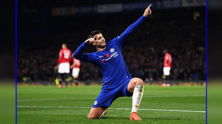 Selebrasi Alvaro Morata usai mencetak gol ke gawang Manchester United. - INDOSPORT