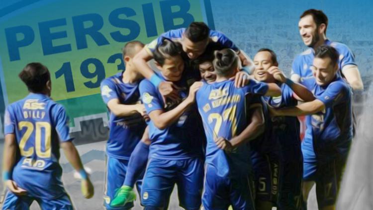 Para pemain Persib Bandung saat melakukan selebrasi. Copyright: Grafis: Eli Suhaeli/INDOSPORT