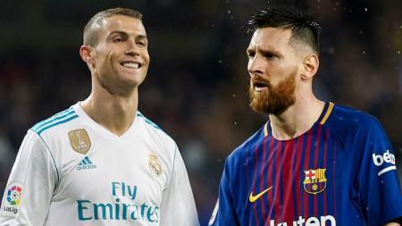 Pemain megabintang Real Madrid, Cristiano Ronaldo dan Lionel Messi, pemain megabintang Barcelona. - INDOSPORT